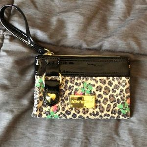 Betsey Johnson cheetah print wristet